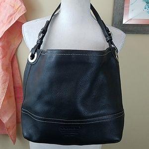 Coach Black Pebbled Leather Carryall Shoulder Bag